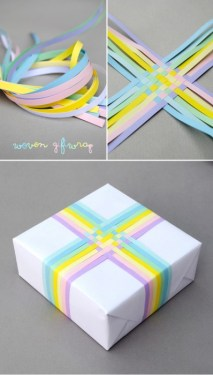 woven giftwrap pastels 213x375 DIY.Woven paper gift topper