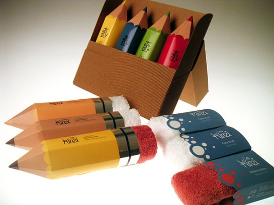 creative packaging part3 17 Packaging ผ้าขนหนู..แนวคิดเจ๋งๆ ที่ทำเป็นยางลบในแท่งดินสอ