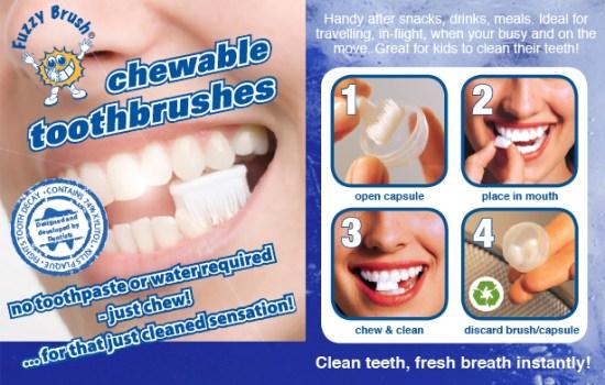 fuzzy 1 550x350 แปรงสีฟันเคี้ยวได้ (ไม่ต้องใช้น้ำ) Fuzzy Brushes