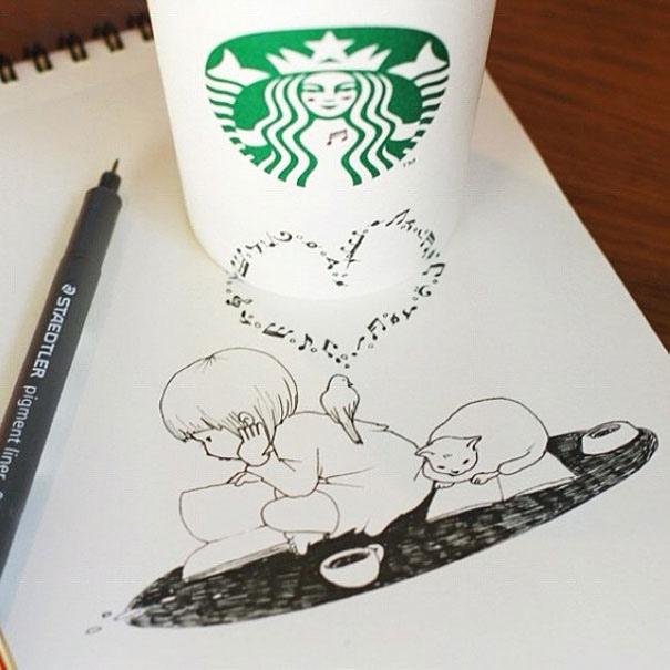 25551218 151010 3D comics series จากถ้วย Starbuck แทนกระดาษวาดเขียน