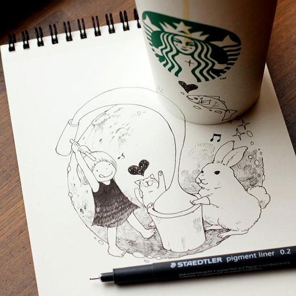 25551218 151022 3D comics series จากถ้วย Starbuck แทนกระดาษวาดเขียน