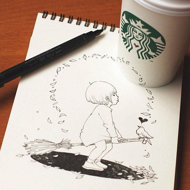 25551218 151030 3D comics series จากถ้วย Starbuck แทนกระดาษวาดเขียน