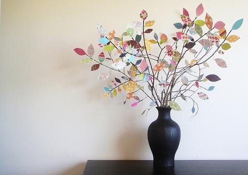 DIY ต้นไม้จากเศษกระดาษห่อของขวัญ 13 - DIY