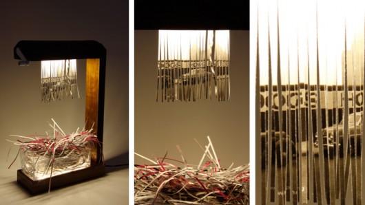 eliminator shredder lamp 5 Merve Kahraman โคมไฟที่สามารถเปลี่ยนม่านรับแสงเองได้