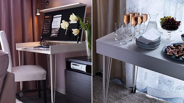 double duty ikea table desk 620x349 6เคล็ดลับที่ทำให้อพาร์ตเม้นต์เล็กๆดูใหญ่ขึ้น