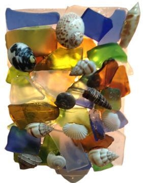 recycled glass nightlight w shell 2 x 3 cm rgnl w shell 28 00 โคมเทียนจากพลาสติกใช้แล้ว