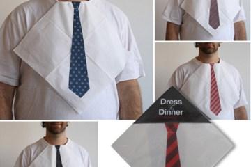"""Dress For Dinner Napkins เพิ่มความเท่สำหรับช่วงเวลาทานอาหารด้วย """"ผ้ากันเปื้อนเน็คไท"""""""