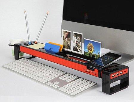 istick desktop organizer 450x343 จัดระเบียบแบบเต็มรูปแบบบนโต๊ะทำงาน ด้วย iStick Desk Organizer with USB Hub and Card Reader
