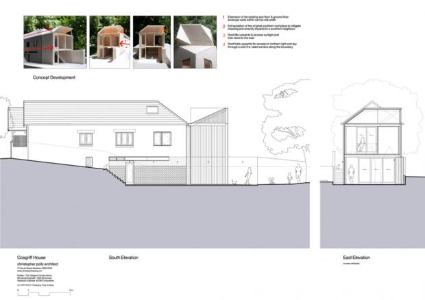 5191321fb3fc4bb75000004a cosgriff house christopher polly architect south   east elevation 620x438 บ้านที่ต่อเติมโดยเพิ่มพื้นที่ 20 ตร.ม.แต่ได้พื้นที่ใช้สอยทั้งห้องน้ำ ห้องนอน ห้องทำงาน ห้องครัว