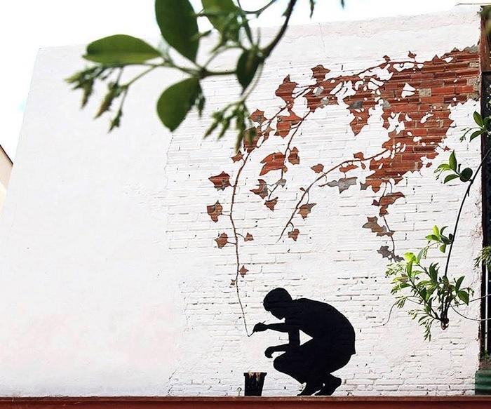 25560626 173916 ภาพวาดจากลอยแตกบนกำแพง..Subtractive Street Art โดย Pejac