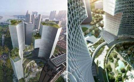 DUO02 450x277 Twin Towers Duo  in Singapore ตึกแฝดด้วยรูปทรงที่เว้าแหว่ง ประเทศสิงคโปร์