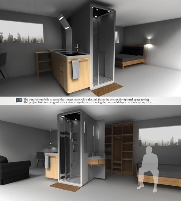 25560712 190043 Cook&Bath..กั้นห้องด้วยเฟอร์นิเจอร์สำเร็จรูป ที่เป็นห้องน้ำและครัวไปด้วย