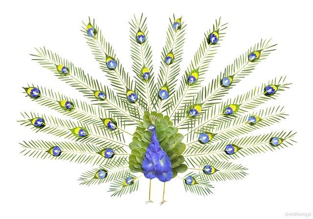 25560720 084615 ชมภาพศิลปะบนInstagram..ภาพนกหลากหลายจากกลีบดอกไม้และใบไม้