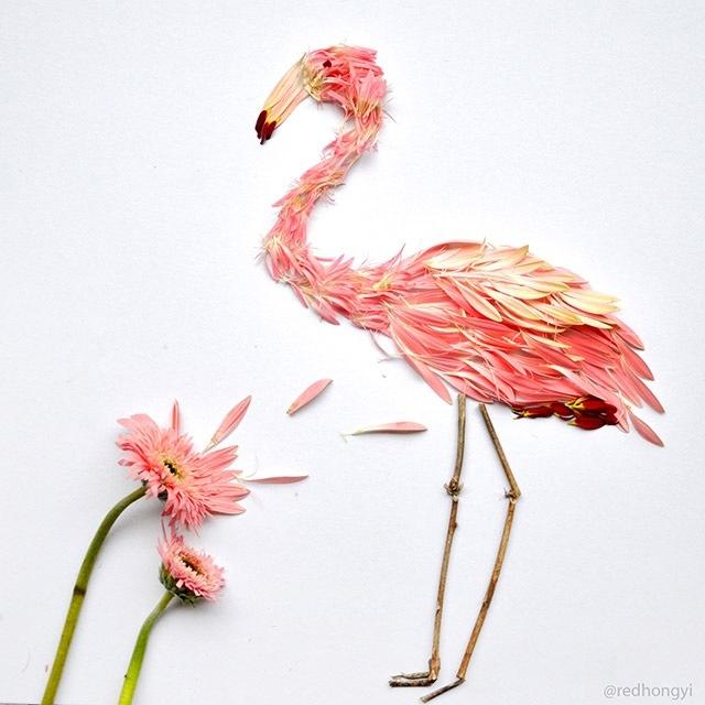 25560720 084952 ชมภาพศิลปะบนInstagram..ภาพนกหลากหลายจากกลีบดอกไม้และใบไม้