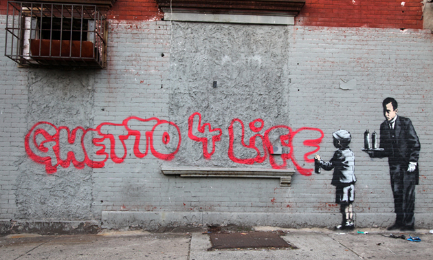 banksy better out than in ghetto 4 life 0 งานศิลปะ Street Art BETTER OUT THAN IN โดย Banksy