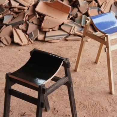 เก้าอี้ จากกระเบื้องมุมหลังคาที่ถูกทิ้งจากโรงงาน โดย tsuyoshi-hayashi 15 -