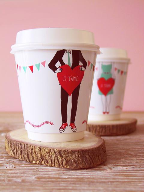 valentine cup wrapper boy DIY:  ถ้วยชา   กาแฟ ของขวัญสำหรับคนสำคัญในวันวาไลน์ไทน์