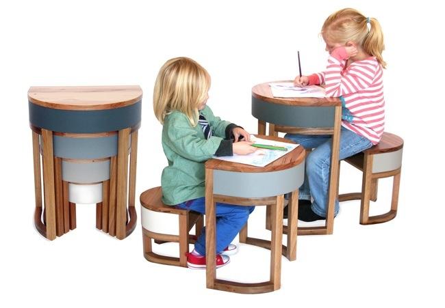 25570306 193835 TABLES FOUR TWO โต๊ะเก้าอี้ 2ชุด ซ้อนเรียงกันอย่างฉลาด สำหรับบ้านพื้นที่จำกัด