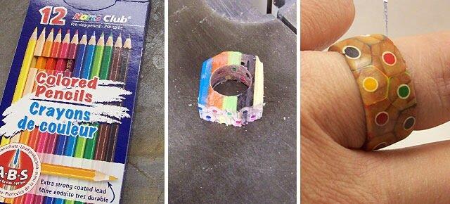 DIY เปลี่ยนดินสอสี เป็นแหวนสายรุ้ง..สวยงาม 13 - DIY