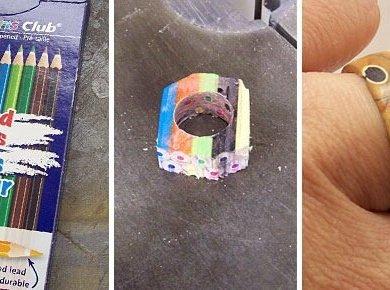 DIY เปลี่ยนดินสอสี เป็นแหวนสายรุ้ง..สวยงาม 21 - DIY