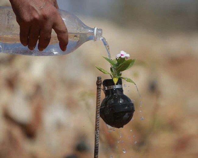 20140602 212041 76841392 ชาวปาเลสไตน์ในเขต West Bank สร้างสวนที่เป็นอนุสรณ์จากปลอกกระสุนแก๊สน้ำตา