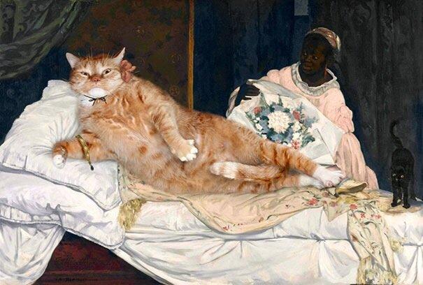 20140608 140031 50431132 ศิลปินรัสเซียวาดภาพแมวอ้วนของเขาเข้าไปในงานศิลป์ระดับคลาสสิคของโลก