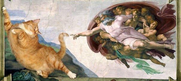 20140608 140512 50712573 ศิลปินรัสเซียวาดภาพแมวอ้วนของเขาเข้าไปในงานศิลป์ระดับคลาสสิคของโลก