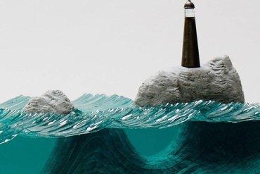 ศิลปินที่เรียนรู้ด้วยตัวเอง สร้างงานจากแผ่นกระจกประกบหลายๆชั้นเป็นคลื่นในมหาสมุทร 16 - ทะเล