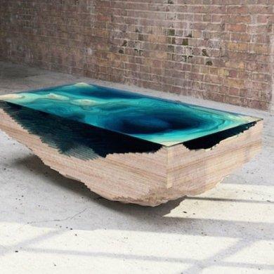 โต๊ะ ที่จำลองภาพมหาสมุทร และแผ่นดินได้งดงาม จากแผ่นไม้ และกระจก 14 - coffee table