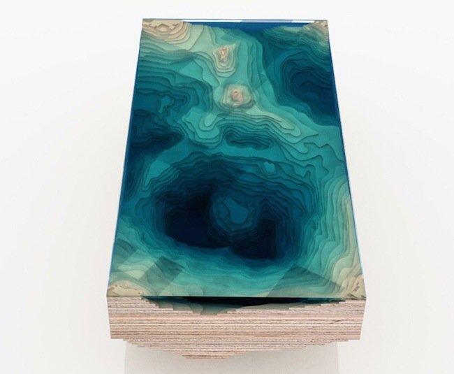 20140705 113330 41610235 โต๊ะ ที่จำลองภาพมหาสมุทร และแผ่นดินได้งดงาม จากแผ่นไม้ และกระจก