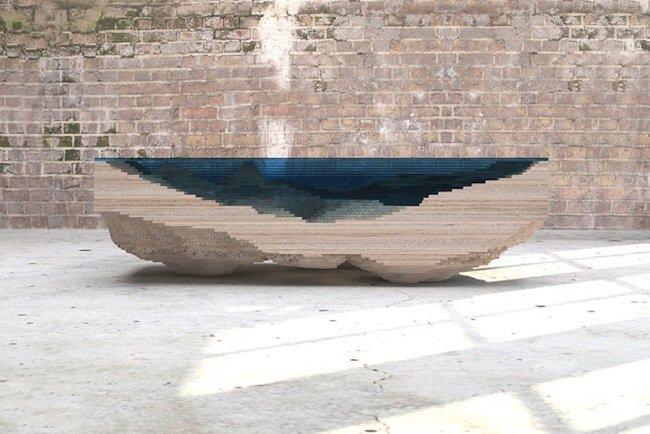 20140705 113330 41610340 โต๊ะ ที่จำลองภาพมหาสมุทร และแผ่นดินได้งดงาม จากแผ่นไม้ และกระจก