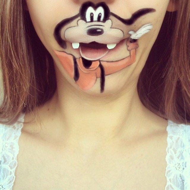 IMG 4376 ศิลปินช่างแต่งหน้า สร้างภาพการ์ตูนให้มีชีวิตบนปากและคางของเธอ