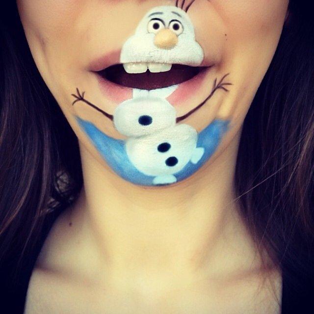 IMG 4381 ศิลปินช่างแต่งหน้า สร้างภาพการ์ตูนให้มีชีวิตบนปากและคางของเธอ