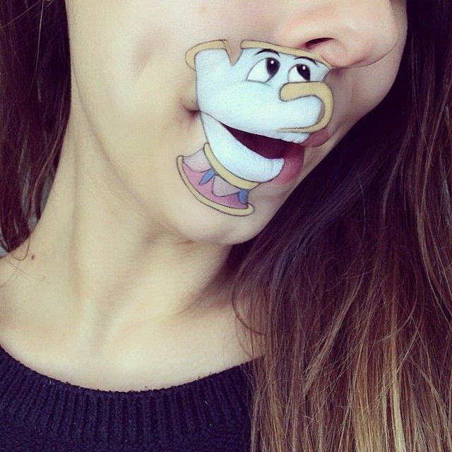 IMG 4382 ศิลปินช่างแต่งหน้า สร้างภาพการ์ตูนให้มีชีวิตบนปากและคางของเธอ