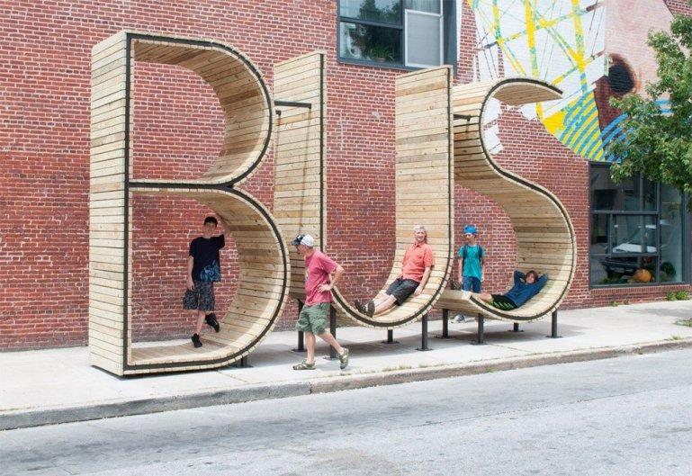 ประติมากรรม ป้ายรถเมล์ Typographic : BUS 13 - ประติมากรรม