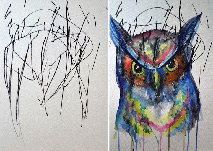 IMG 5197 ศิลปินเปลี่ยนภาพขีดเขียนเลอะๆของลูกสาววัย2ขวบ เป็นงานศิลปะ