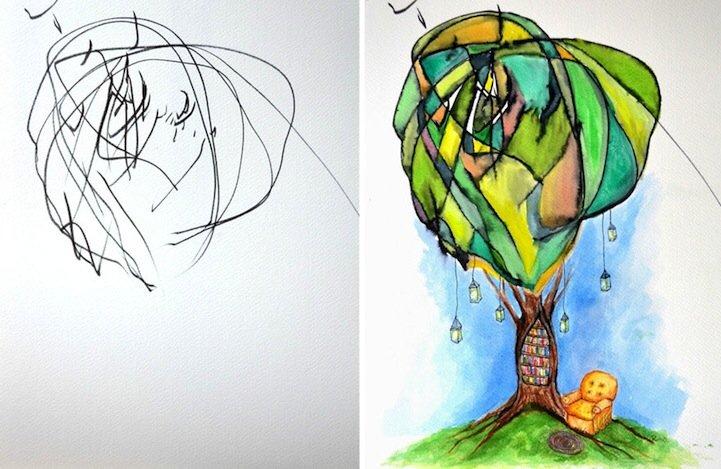 IMG 5198 ศิลปินเปลี่ยนภาพขีดเขียนเลอะๆของลูกสาววัย2ขวบ เป็นงานศิลปะ