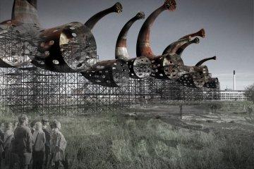 เครื่องผลิตพลังงานจากลม ที่เป็นชิ้นงานศิลปะ และให้เสียงดนตรีไปพร้อมๆกัน 8 - installation art