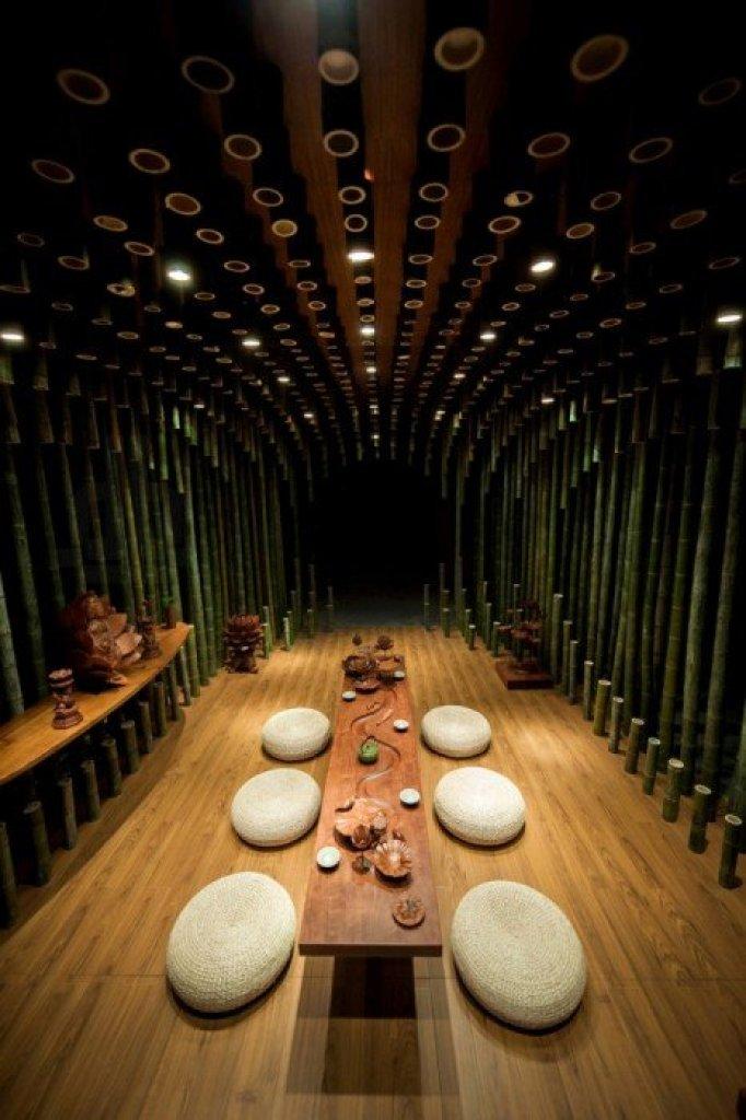 Bamboo 01 จิตสันติและสงบในห้องดื่มน้ำชา อารมณ์ไผ่และดอกบัวไม้