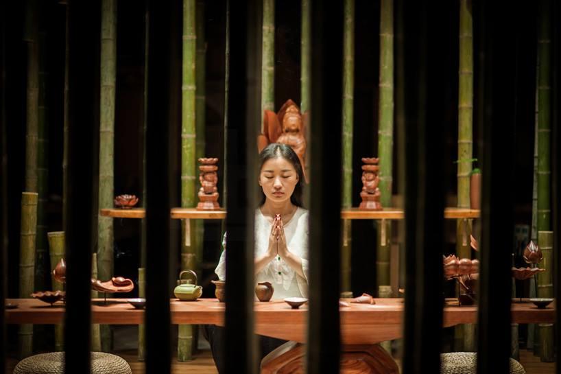 Bamboo 06 จิตสันติและสงบในห้องดื่มน้ำชา อารมณ์ไผ่และดอกบัวไม้