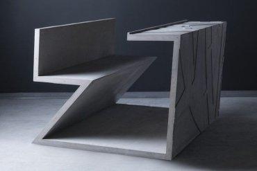 โต๊ะซีเมนต์ ออกแนวกราฟฟิคโดย  Libeskind สำหรับแบรนด์  Moroso 13 - โต๊ะ