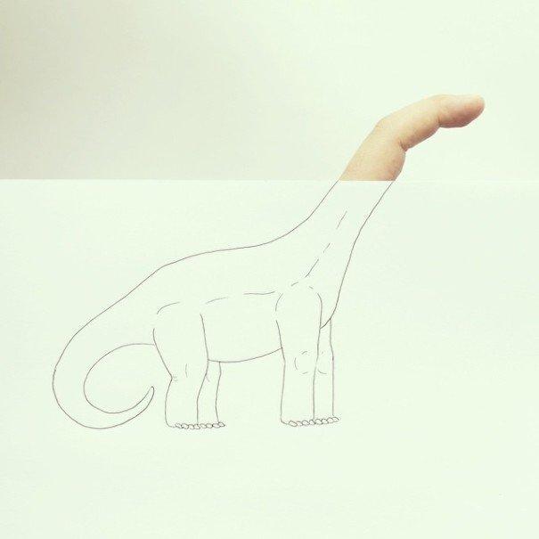 IMG 7221 เมื่อศิลปินอารมณ์ดี สร้างภาพลายเส้นง่ายๆ กับนิ้วมือของเขาเอง
