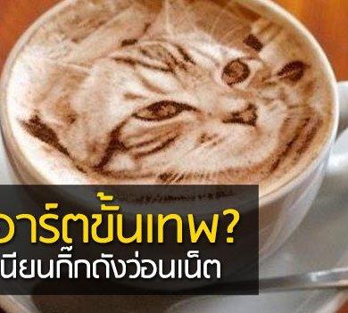 Latte Art ภาพแมวบนฟองนม.. ฝีมือขั้นเทพ! ... แต่แหม ใครสังเกตดีๆ มาจับผิดกัน 15 - latte art