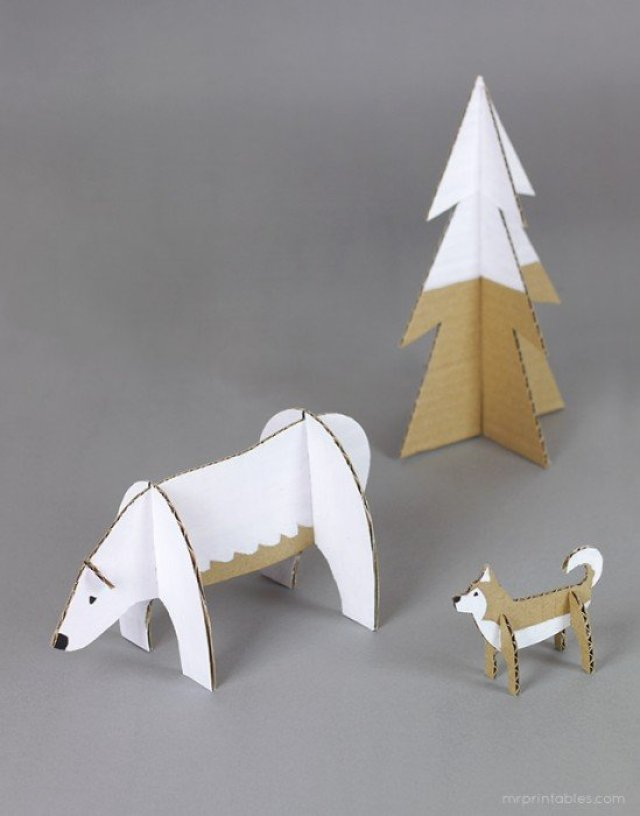 cardboard-animals-polar-bear-husky