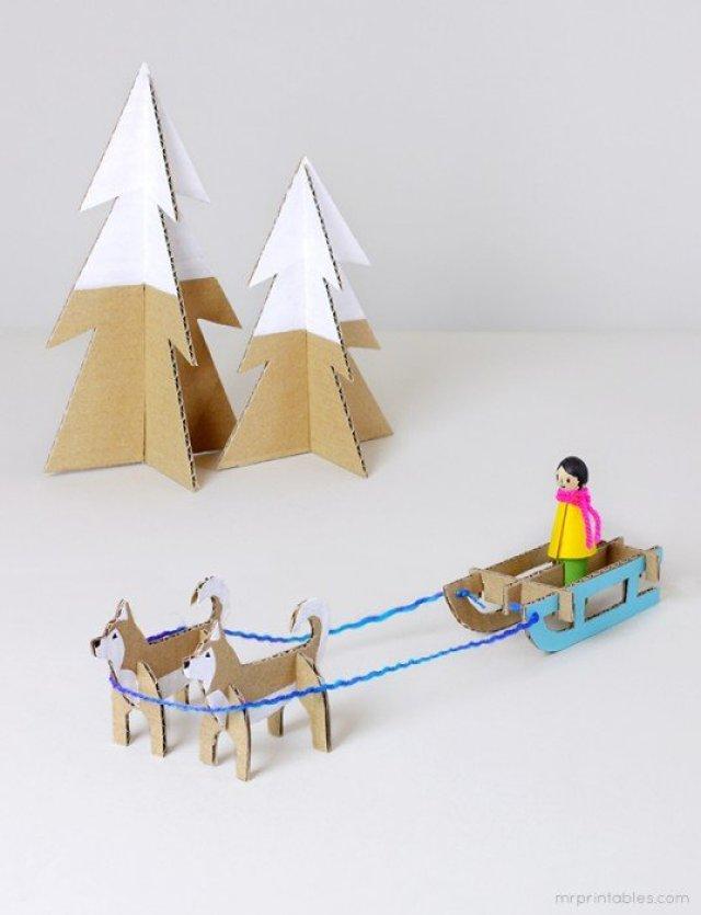 husky-sled-cardboard-toy-templates