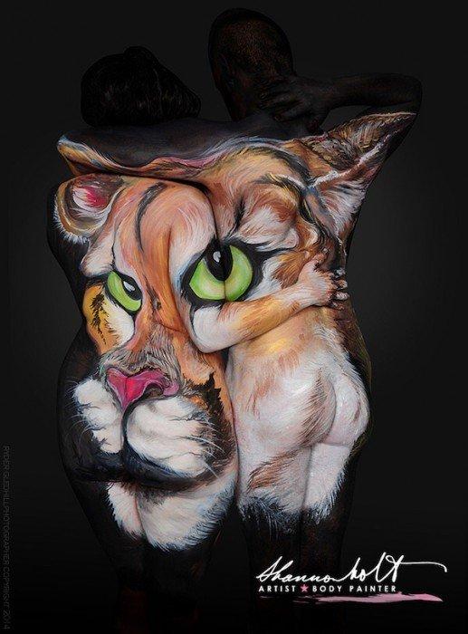 Body Painting ..เปลี่ยนร่างกายมนุษย์เป็นภาพสัตว์ที่สวยงาม 13 - animal painting