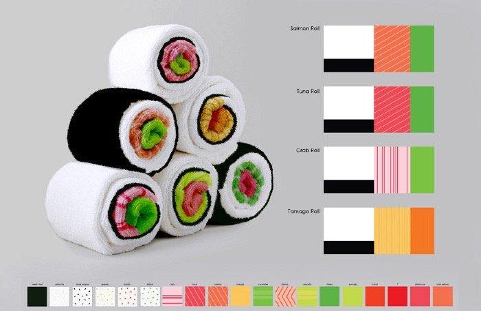 เมื่อผ้าใช้ในครัวกลายเป็นอาหารน่าทาน Sushi Rolls 14 - Gift