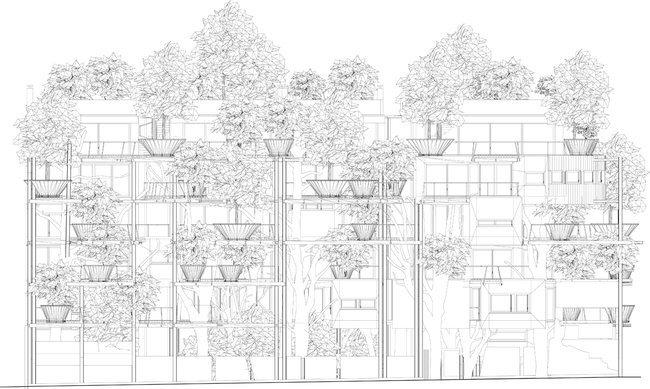 อาคารที่ปกคลุมด้วยสนิมเหล็กและต้นไม้สีเขียว เสมือนกับบ้านต้นไม้ 17 - Apartment