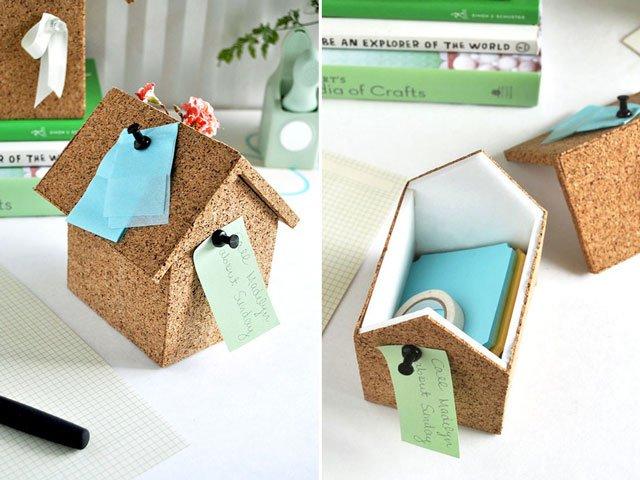 DIY : บ้านโฟมลายไม้ก๊อก ทั้งปักโน้ตและเก็บของ 13 - box