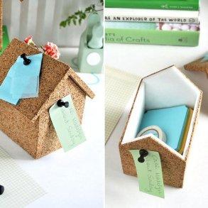 DIY : บ้านโฟมลายไม้ก๊อก ทั้งปักโน้ตและเก็บของ 17 - box